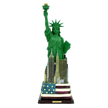 12.5 Inch Statue of Liberty Statues with Skyline and Flag Base