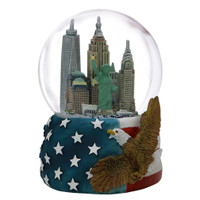 Patriotic NYC Skyline Snow Globe