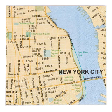 New York City Map 5 Inch Cocktail Napkins