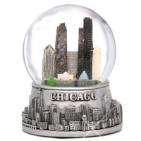 Silver Chicago Snow Globe, Souvenir Skyline Replica of Chicago, Illinois