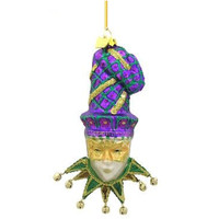 Glass Mardi Gras Christmas Ornament Purple Hat