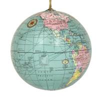 World Globe Christmas Ornament Blue