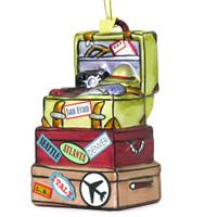 Glass vacation travel destination luggage Christmas ornament
