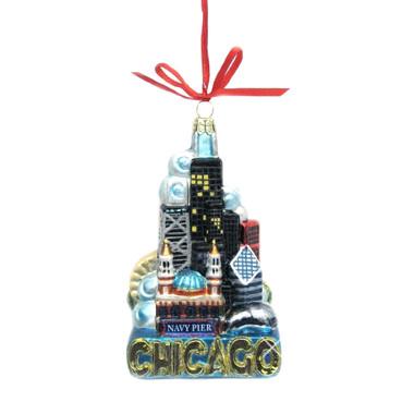Glass Landmarks Chicago Christmas Ornament