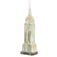 Glass Empire State Building Christmas Ornament Silver