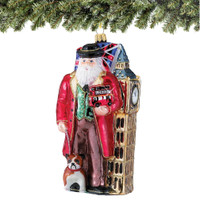 British Santa and Big Ben Christmas Ornament, Polonaise