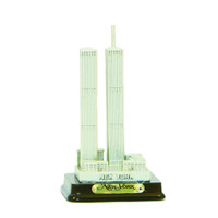 7.25 Inch Twin Towers Statue Replica with Wood Base