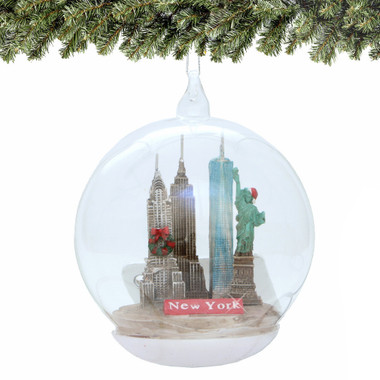 New York City Christmas Ornament, Landmarks Memory Globe