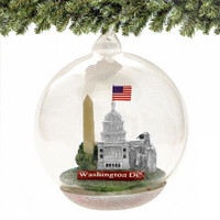 DC  Christmas Ornament, Landmarks Memory Globe, Glass