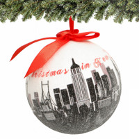 "4"" NYC Skyline Christmas Ornament with glitter"