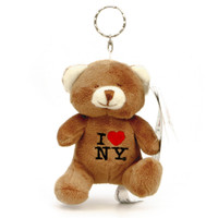 Stuffed I Love NY Teddy Bear Keychain