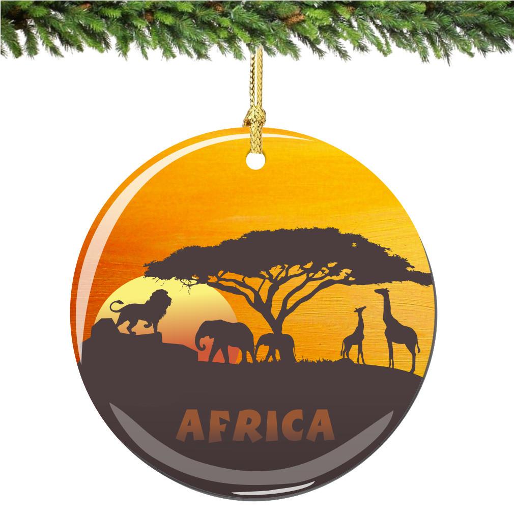 Africa Christmas Ornament Porcelain African Serengeti