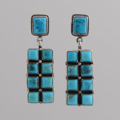 Turquoise tile earrings by Ida Morgan