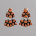 Sterling Silver Earrings, w/ Orange Spiny Oyster Shell, Dangle, w/ Post.