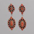 Sterling Silver Earrings, w/ Orange Spiny Oyster Shell, Dangle, w/ Multiple Stone w/ Post.