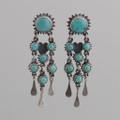 Sterling Silver Post Earrings w/ Turquoise Seven Stone Dangles.