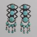 Sterling Silver Post Earrings w/ Turquoise, Eleven Stones w/ Dangles.