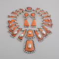 Orange Spiny Oyster Shell  and Pearl Set by Federico