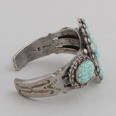 Coin Silver #8 Spiderweb Turquoise.