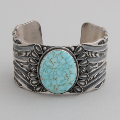 Sterling Silver Bracelet with  #8 Spiderweb Turquoise.