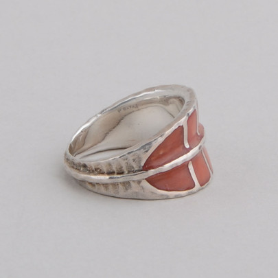 This Peyote Bird ring features Coral and Sterling Silver!