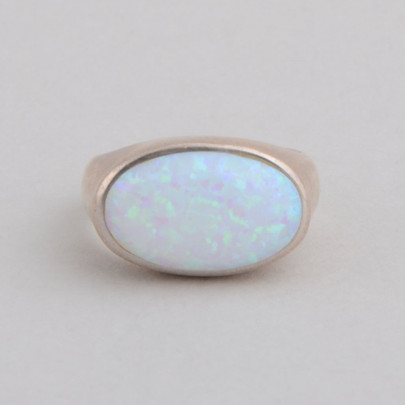This Peyote Bird ring features Lab Opal and Sterling Silver!