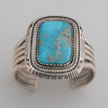 Very simple sterling silver cuff with a large show stopper Blue Gem Turquoise stone!