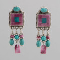 "Small Squares and ""tassels"" in purple spiny oyster shell and Turquoise make these whimsical earrings fun!"