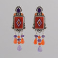 "Small Squares and ""tassels"" inlaid red spiny oyster shell make these earrings whimsical and fun!"
