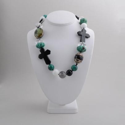 Kim Yubeta Crosses and Beads Choker