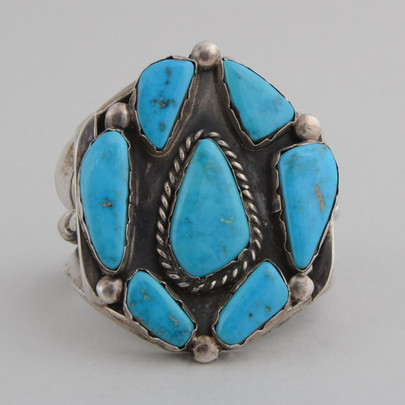 Vintage sterling silver cuff with Blue Gem Turquoise.