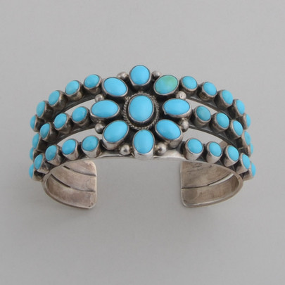 An elegant cuff with Sleeping Beauty Turquoise, by Albert Jake.