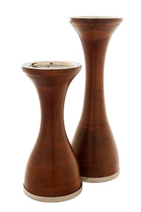 NINA Wood Candle Holders - Set of 2