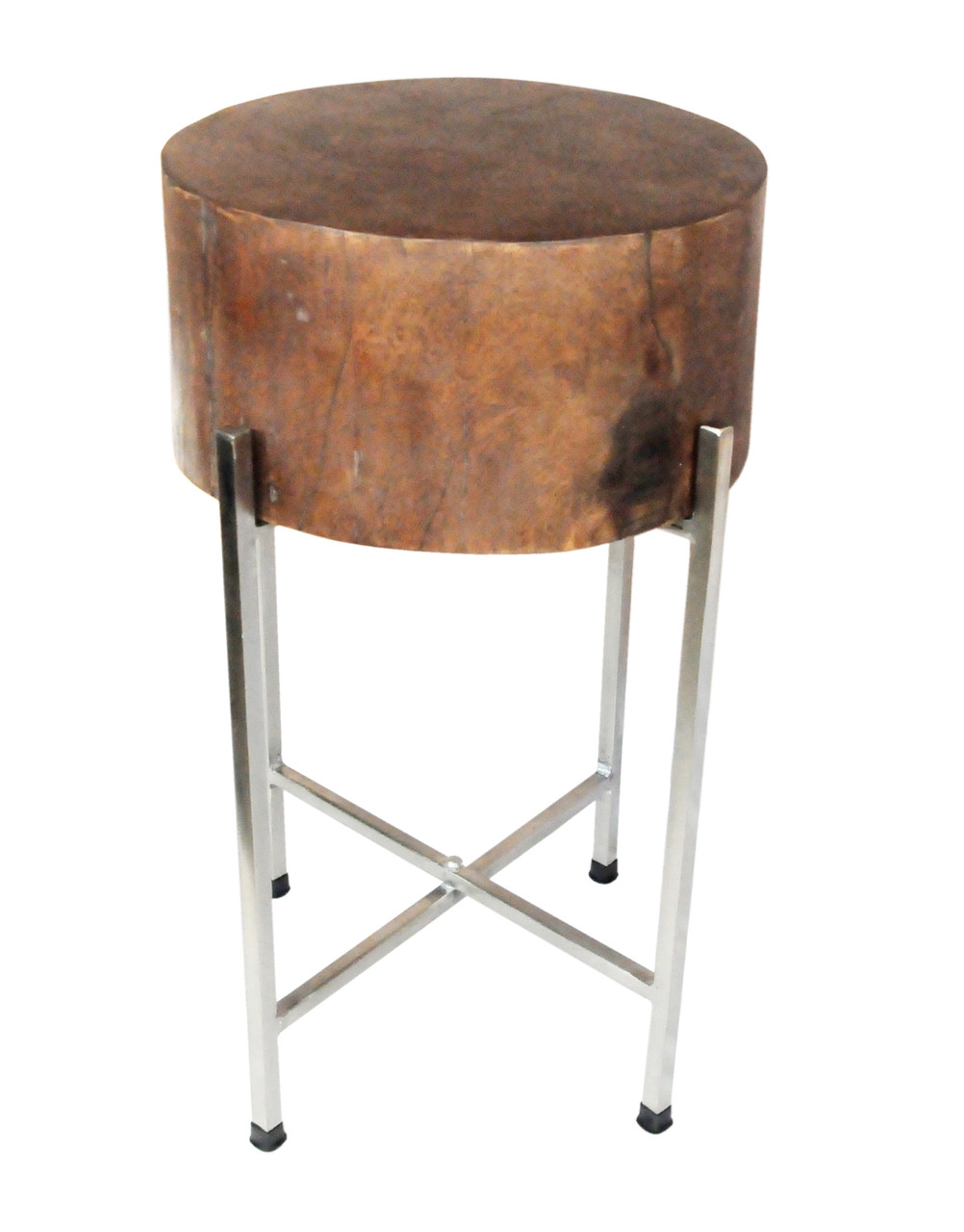 - Round Wood Block Accent Table