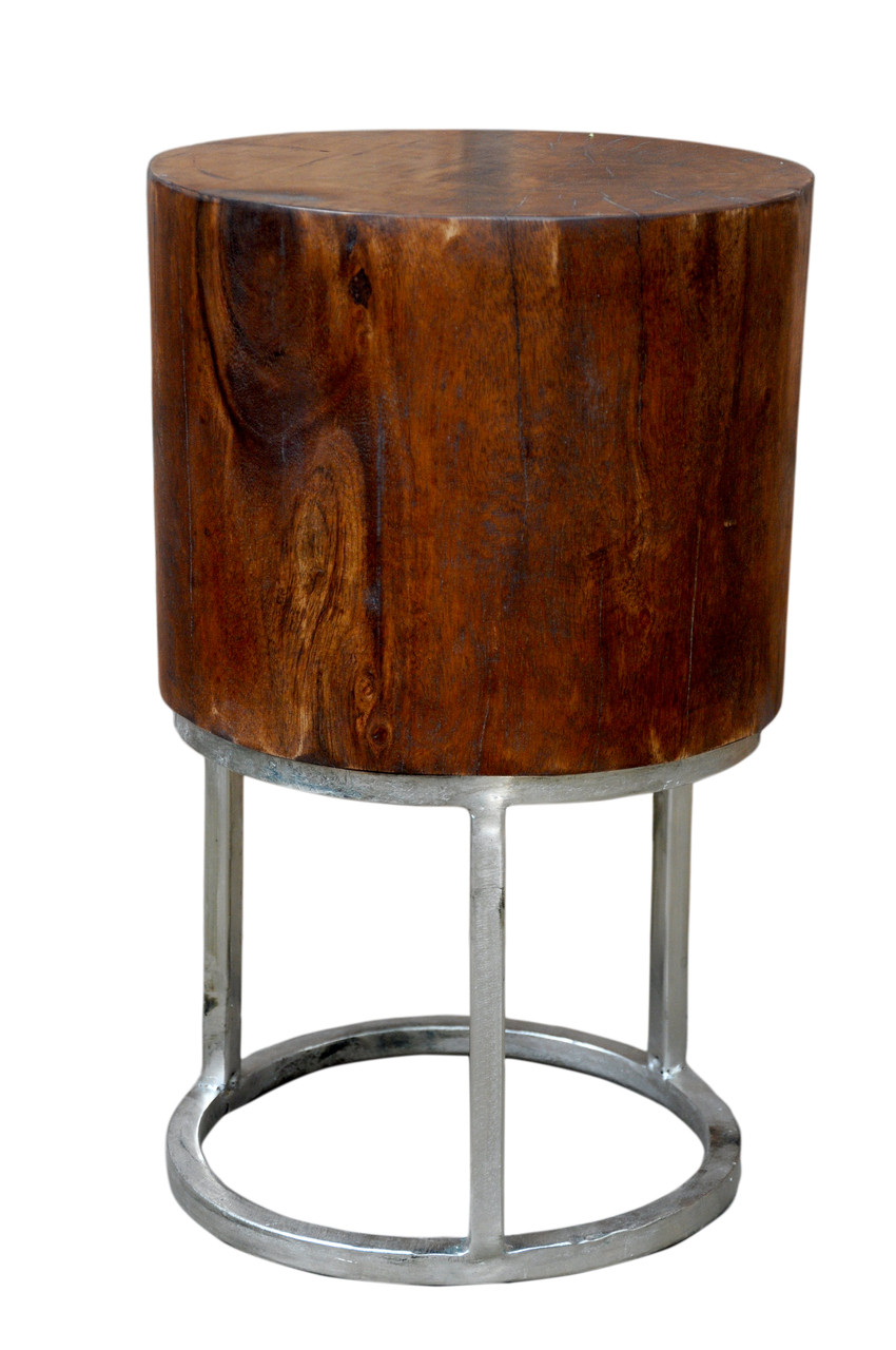 - SANDERS Deep Mango Wood Accent Table With Round Silver Base