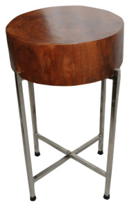 SURA Natural Round Wood Block Accent Table