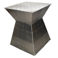 Square Modernist Silver Accent Table CAPE
