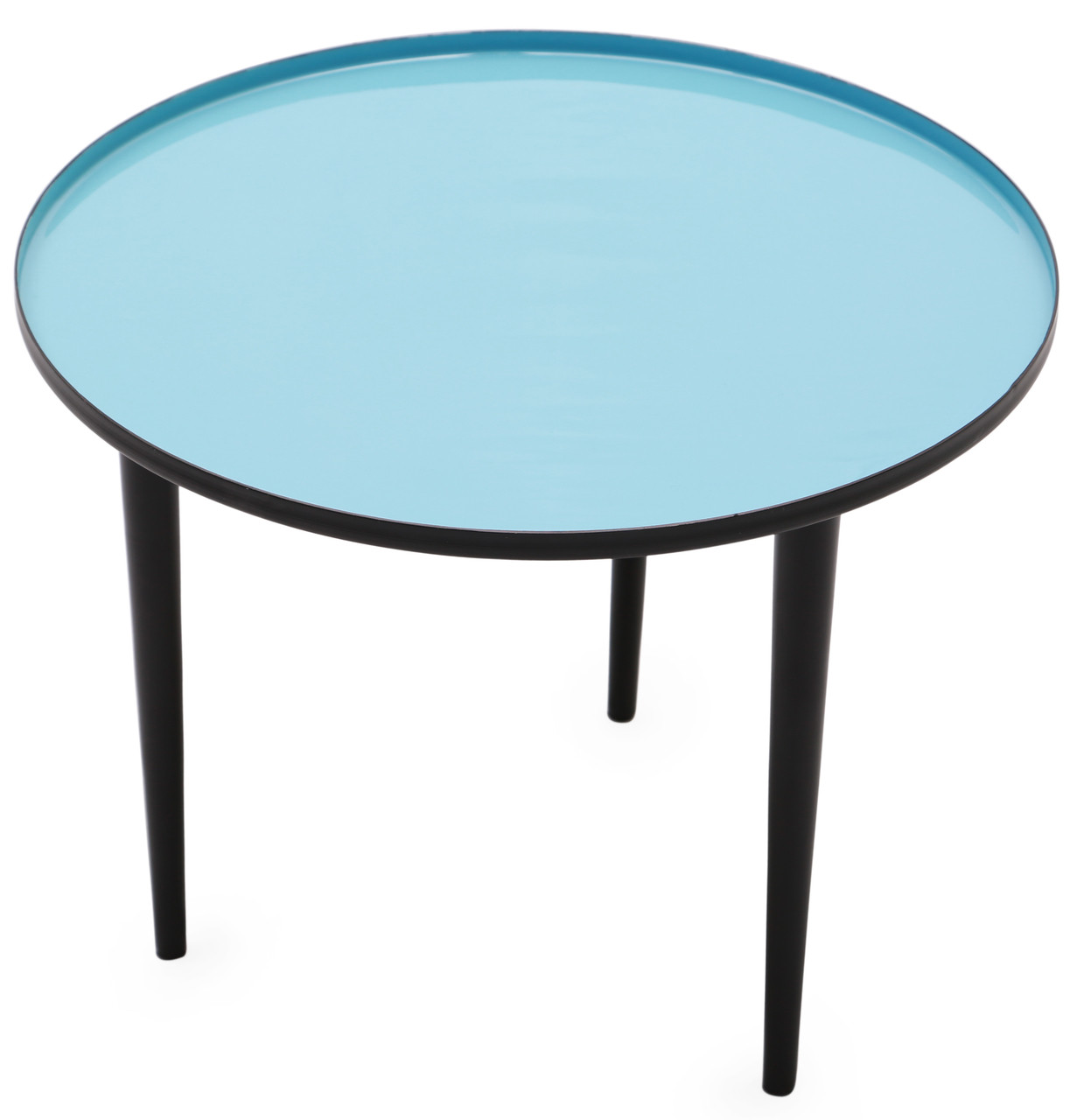 Side Table Opruiming.Robins Round Side Table With Robin Blue Enameled Top On Sale