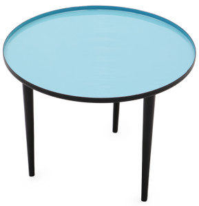 ROBINS Round blue enameled end table