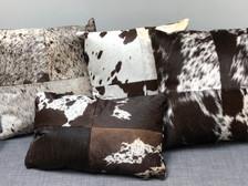 Brown cowhide pillow selection - Heifer, Vache, Dexter, Holstein