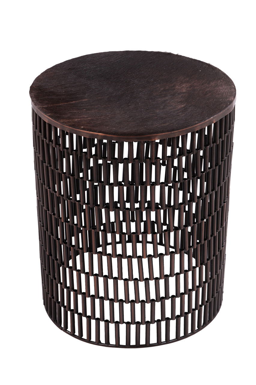 - BULLET Bronze Metal Table With Brown Cow Hide Covered Top