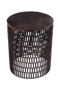BULLET Round Metal Brown Accent Table