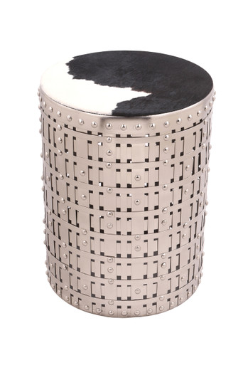 COWGIRL Round Silver Accent Table
