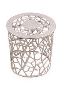 JEWEL Round Metal Silver Accent Table