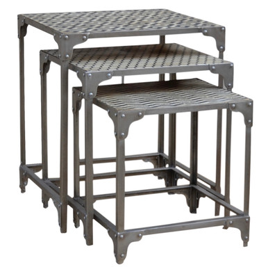 HILO Antiqued Nesting tables in white & black with Silver Stand.