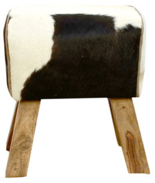 ARNO Pommel Horse Stool Black and White Cow Hide