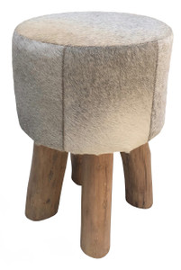 ERIN grey cow hide pouf & stool with wooden legs