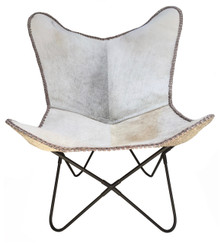 LADY Butterfly chair in grey cow hide