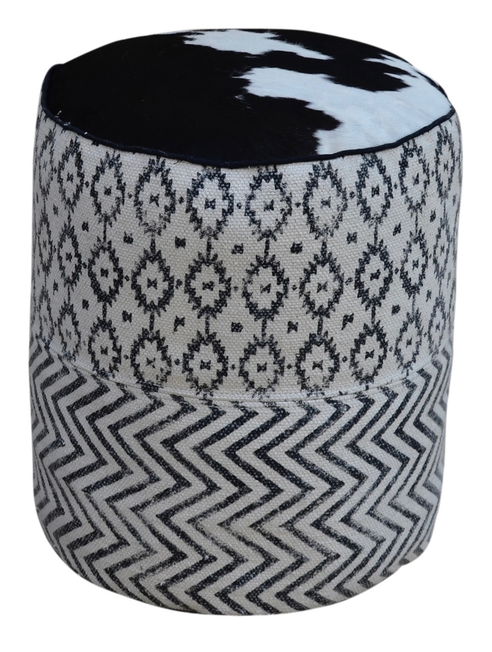 Surprising Uma Black White Patterned Round Pouf With Cowhide Top Dailytribune Chair Design For Home Dailytribuneorg