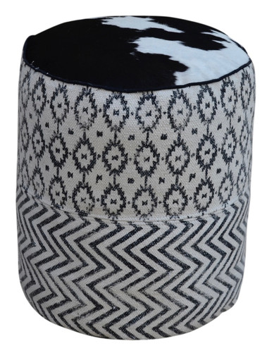 UMA black & white patterned pouf with cow hide top